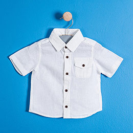 Erkek Çocuk Kısa Kol Gömlek Beyaz (9 ay-7 yaş)