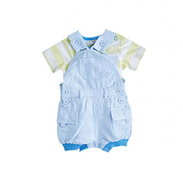 Erkek Bebek Tişört Salopet Set Mavi (56-92 cm)