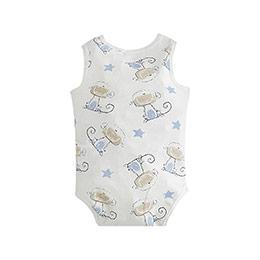 Erkek Bebek Üçlü Kolsuz Badi Beyaz (0-2 yaş)