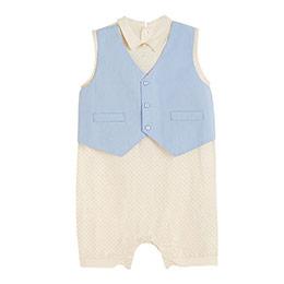 Erkek Bebek Yeleki Tulum Beyaz  (0-24 ay)