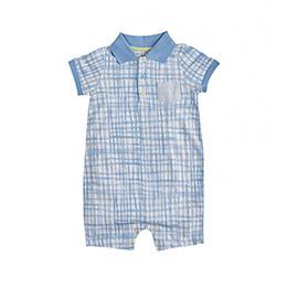 Erkek Bebek Kısa Kol Tulum Mavi (0-2 yaş)
