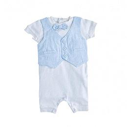 Erkek Bebek Kısa Kol Tulum Mavi (0-1 yaş)