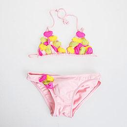 Puantiye Üçgen Bikini Gül (12 ay-3 yaş)