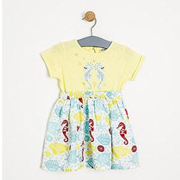 Kız Çocuk Kısa Kol Elbise Limon (2-7 yaş)