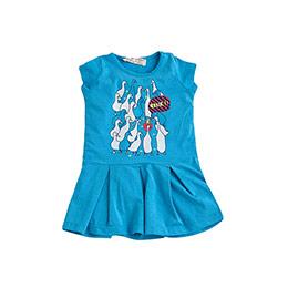 Kız Çocuk Kısa Kol Elbise Turkuaz (9 ay-7 yaş)