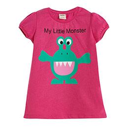 Gift Canavar Baskılı Neşeli Kısa Kol Tişört Fuşya (9 ay-4 yaş)