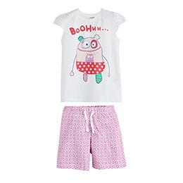 Kısa Kol Şort Pijama Takımı Beyaz (2-7 yaş)