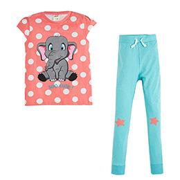 Kısa Kol Pijama Takımı Pembe (2-7 yaş)