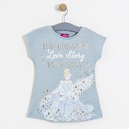Lisanslı Disney Cinderella Kısa Kol Tunik Mavi  (4-7 yaş)