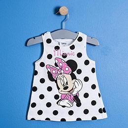 Lisanslı Disney Minnie Mouse Fiyonklu Kolsuz Elbise Beyaz  (9 ay-7 yaş