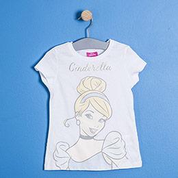 Lisanslı Disney Cinderella Kısa Kol Tişört Beyaz  (4-7 yaş)