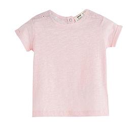 Kız Çocuk Omuz Detaylı Kısa Kol Tişört Gül (9 ay-12 yaş)