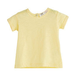 Kız Çocuk Omuz Detaylı Kısa Kol Tişört Banana (9 ay-12 yaş)