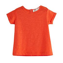Kız Çocuk Omuz Detaylı Kısa Kol Tişört Vişne (9 ay-12 yaş)
