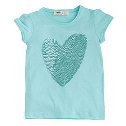 Pop Girls Payetli Kalp Kısa Kol Tişört Mint (9 ay-7 yaş)