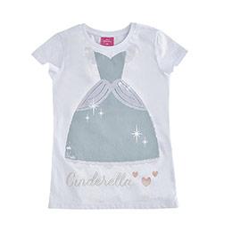 Disney Cinderella Kız Çocuk Kısa Kol Tişört Beyaz  (8-10 yaş)