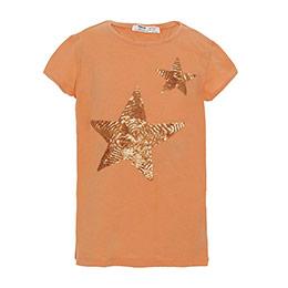 Pop Girls Payetli Yıldız Kısa Kol Tişört Yavruağzı (8-12 yaş)