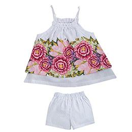 Floral Baby Askılı Bluz ve Şort Set Beyaz  (0-24 ay)