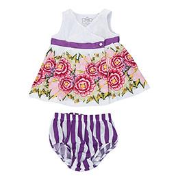 Flora Baby Kolsuz Elbise ve Külot Set Beyaz  (0-24 ay)