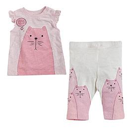 Ms Cat Kısa Kol Tişört ve Tayt Set Ekru (0-2 yaş)