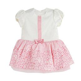 Kız Bebek Kısa Kol Elbise Ekru (0-2 yaş)