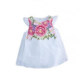 Kız Bebek Kısa Kol Elbise Beyaz (0-2 yaş)