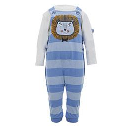 Erkek Bebek Salopet-Badi Set Mavi (0-2 yaş)