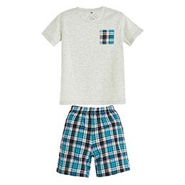 Erkek Çocuk Pijama Takımı Açık Gri Melanj (4-12 yaş)