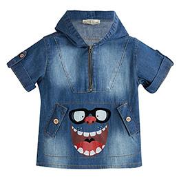 Erkek Çocuk Kısa Kol Kot Sweatshirt Açık Mavi (1-5 yaş)