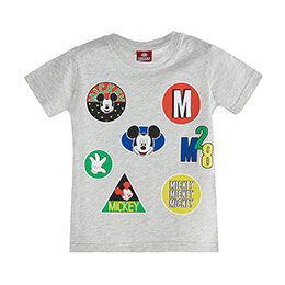 Mickey Mouse Erkek Çocuk Kısa Kol Tişört Açık Gri Melanj (2-7 yaş)