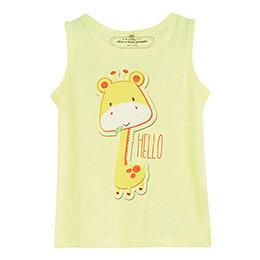 Erkek Bebek Zürafa Kolsuz T-Shirt Neon Limon (0-2 yaş)