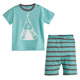 Erkek Bebek Pijama Takımı Yeşil Melanj (0-3 yaş)