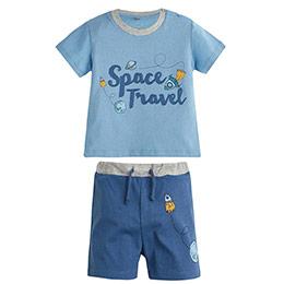 Erkek Bebek Pijama Takımı Açık Lacivert (0-3 yaş)