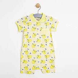 Erkek Bebek Kısa Kol Tulum Limon (0-2 yaş)