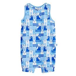 Erkek Bebek Kolsuz Tulum Mavi (0-2 yaş)