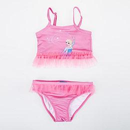Disney Frozen Askılı Fırfırlı Bikini Pembe (2-7 yaş)
