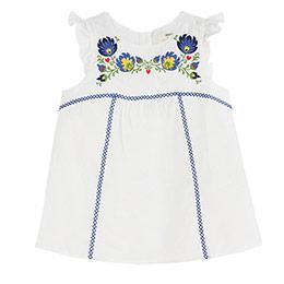 Kız Çocuk Kolsuz Fırfırlı Bluz Beyaz (3-12 yaş)