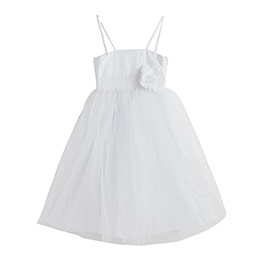 Kız Çocuk Askılı Elbise Beyaz (3-12 yaş)