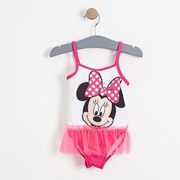 Lisanslı Disney Minnie Mouse Askılı Fırfırlı Mayo Fuşya (2-7 yaş)