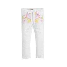 Kız Çocuk Kot Pantolon Beyaz (3-12 yaş)