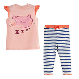 Kız Çocuk Pijama Takımı Şeftali (4-12 yaş)