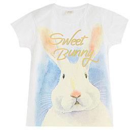 Pop Girls Tavşanlı Kısa Kol Tişört Beyaz (3-12 yaş)