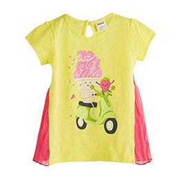 Ice Cream Piliseli Kısa Kol Tişört Neon Sarı (1-7 yaş)