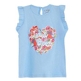 Pretty Tales Kolsuz Kız Bebek Tişört Mavi (0-2 yaş)