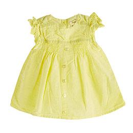 Pop Girls Düğmeli Kısa Kol Bluz Limon Sarısı (0-2 yaş)