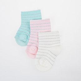 Üçlü Çizgili Soket Çorap Set Pembe (14-22 numara)