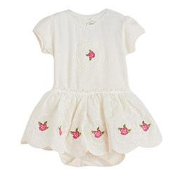 Kız Bebek Kısa Kol Badili Elbise Ekru (56-92 cm)