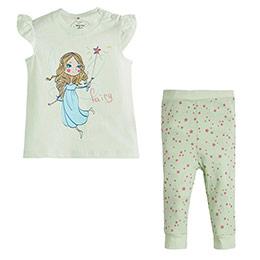 Peri Kısa Kol Pijama Takımı Ekru (0-3 yaş)