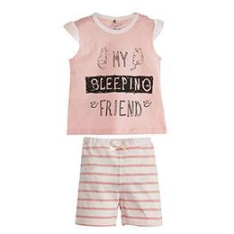Pembe Çizgili Kısa Kol Şort Pijama Takımı Pembe (0-3 yaş)