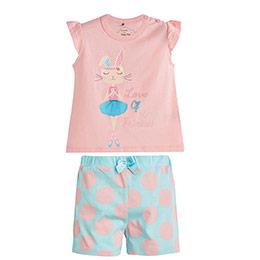 Tavşan Baskılı Kısa Kol Şort Pijama Takımı Pembe (0-3 yaş)